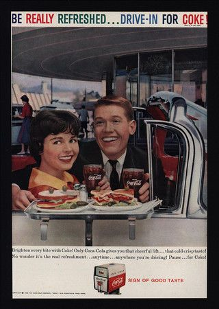 1959 COCA-COLA - Drive-In For Coke - Man & Woman in Convertible - VINTAGE AD
