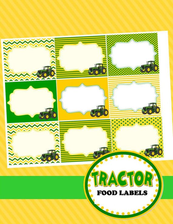 TRACTOR Party -FOOD Labels /Place Cards - Farm Party - Boy Birthday- Ranch Party Printables - Man - Men - INSTANT Download - Krown Kreations...