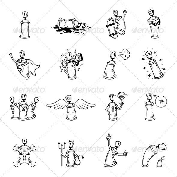 Graffiti Characters Icons Set - Web Elements Vectors