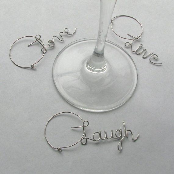 Live Love Laugh Personalized Wine Glass Charm Unique Party Favor Bridal Shower Wedding Reception Hostess Gift