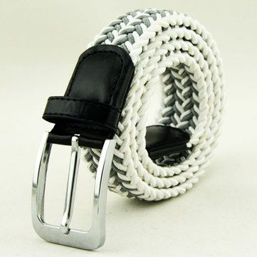 Men Women Stretch Braided Elastic Woven 115CM Leather Buckle Belt at Banggood