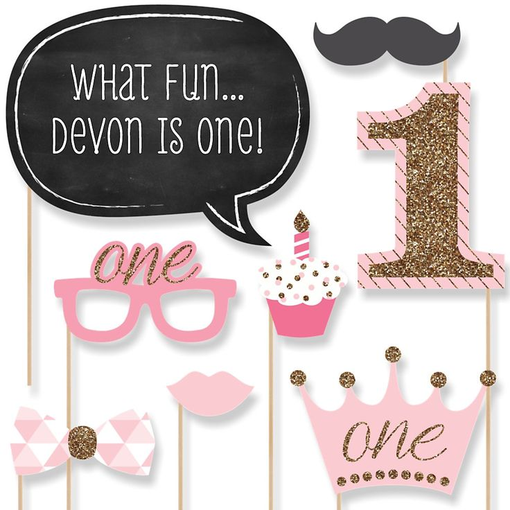 Fun to be One - 1st Birthday Girl - 20 Piece Photo Booth Props Kit   BigDotOfHappiness.com