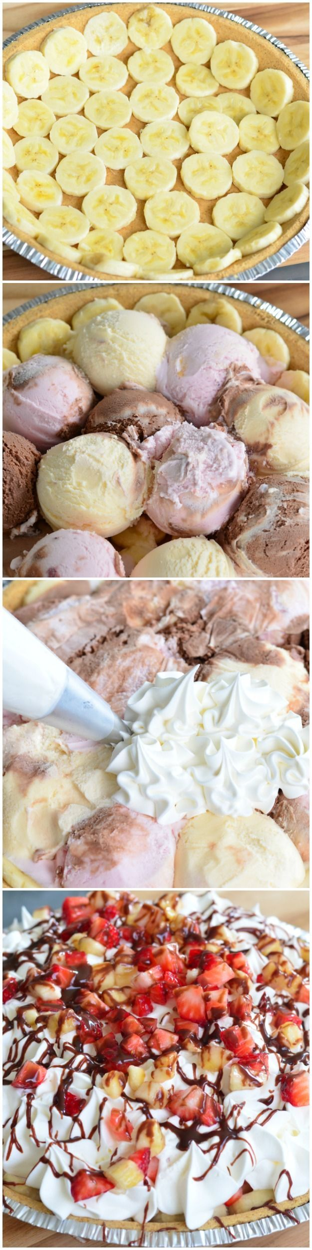 This Banana Split Ice Cream Pie is a SUPER simple and super delicious summer dessert made with three ice cream flavors, whipped cream, fruit and chocolate.