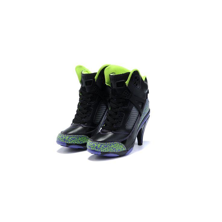 Jordan Shoes Womens Jordan Spizike High Heels Black Citron Purple Boots  [Womens Jordan Spizike Boots - The Womens Jordan Spizike High Heels Black  Citron ...