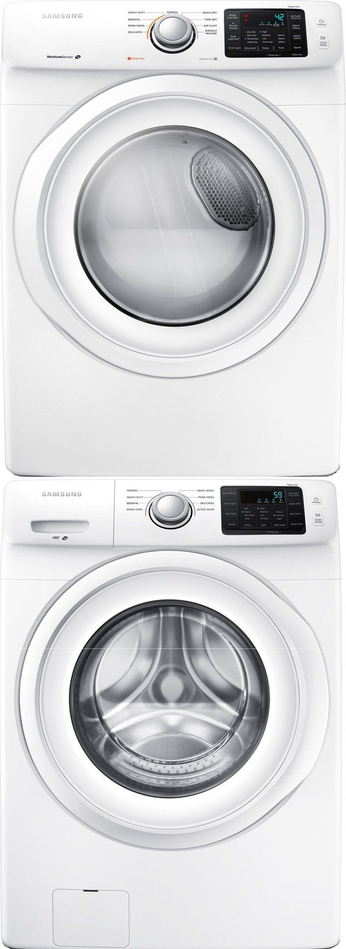Samsung WF42H5000AW Front Load Washer & DV42H5000EW Electric Dryer w/Stacking Kit