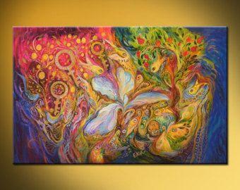 SOBRE ESTA PINTURA Obra de arte es una expresión de arte judío inequívoco, transportando la dualidad de la vida a través de la dualidad de colores, rojo y azul, revelando una cromaticidad potente tanto inspirador para ascenso por los movimientos del pincel fino hacia arriba   DATOS DE * Nombre: Los signos del zodiaco * Pintor: Elena Kotliarker * Tamaño de la pared: 40 x 34 (101 X 86 cm). Puede variar * Original pintura acrílico sobre lienzo * Estilo: Moderno, abstracto, Mediterráneo…