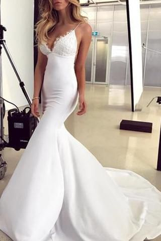 Elegant Lace Appliques V-Neck Backless White Sweetheart Spaghetti Straps Mermaid Wedding Dress PH179