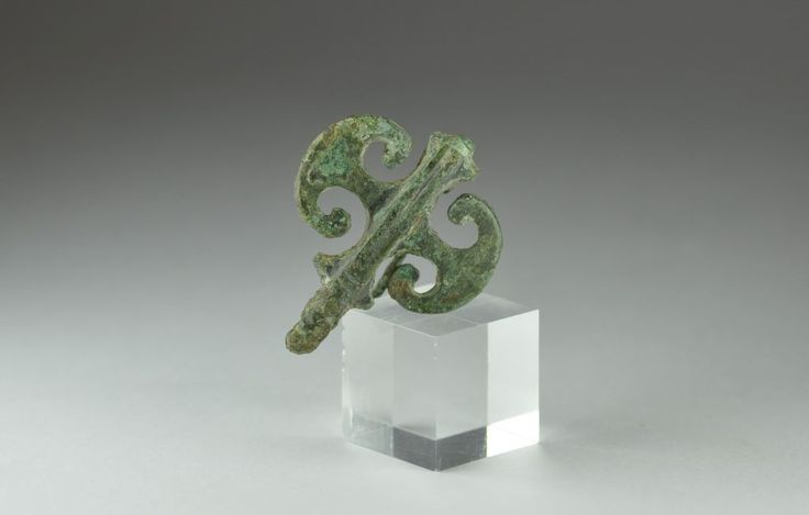 Roman bronze fibula brooch in shape of double axe. Private collection