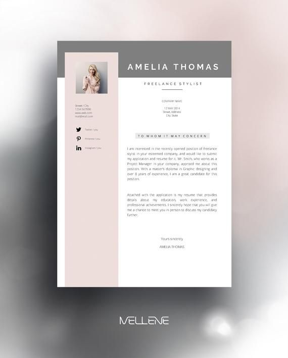 Resume Template 3 Page Cv Template Cover Letter Instant Etsy Resume Template Cv Template Lettering
