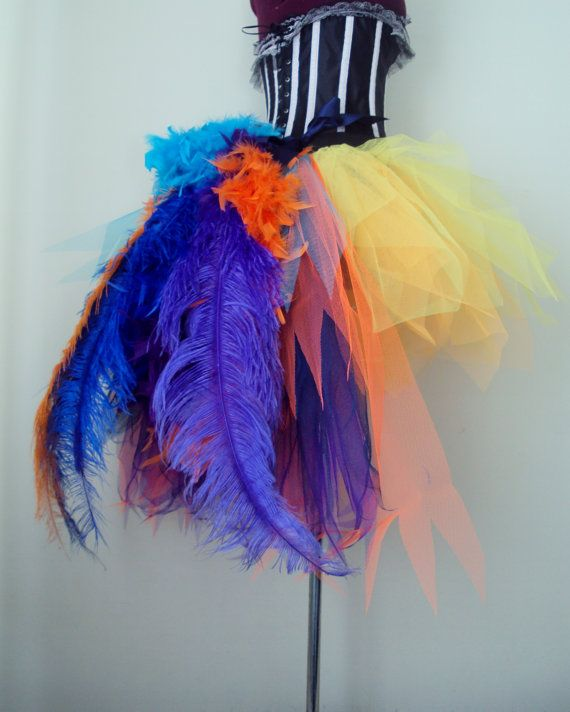 Beautiful Burlesque Skirt Orange Purple Blue Turquoise Gold Yellow  Lots of Tulle Feathers and Ostrich Feathers