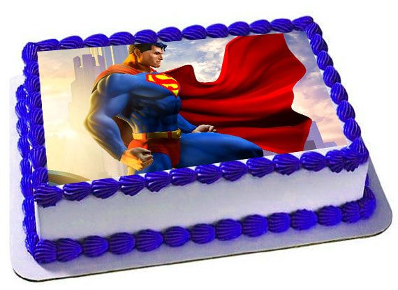 superman edible cake topper superman frosting by trendytreathouse