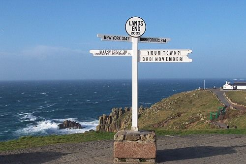 Lands End Cornwall the most westerly point in mainland England.....New York City is 'the next stop' if you're going that way, over 3,000 miles!
