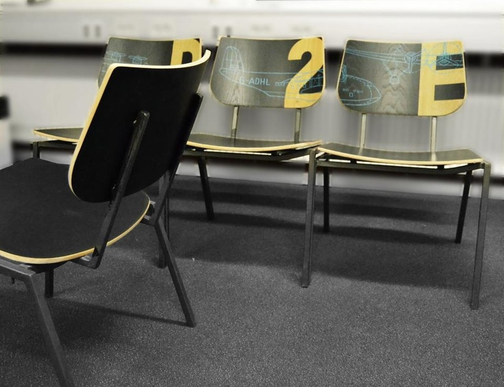 Old schoolchairs upcycled to Loungechars with numbers and technical airplane drawings.  www.Davids-Redesign.dk