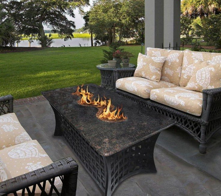 Awesome Napoleon Rectangle Propane Fire Pit Table   Fire Pits At Hayneedle