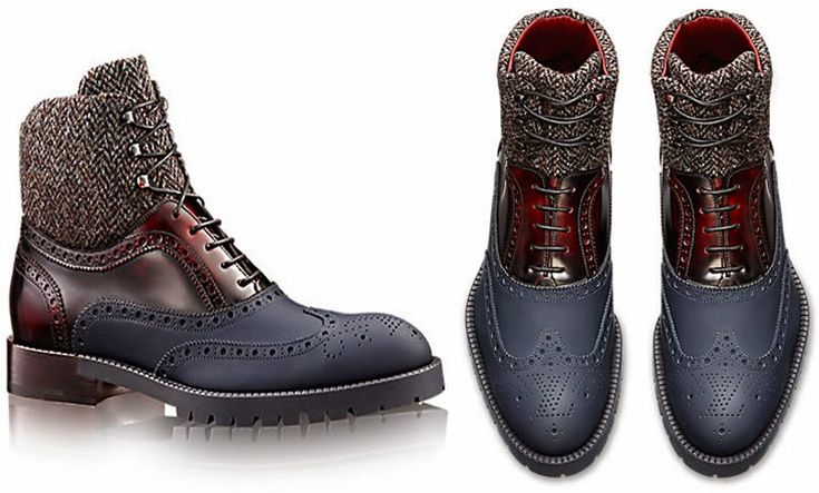 "LOUIS VUITTON SHOE COLLECTION FOR MEN FALL 2014 / THESE DAYS HIGH-END FASHION IS ALL ABOUT MIXING AND BLENDING DIFFERENT MATERIALS TO DELIVER A TREND-SETTING OUTCOME. THE FRENCH HOUSE HAS GIVEN THE CLASSIC DERBY SHOES A NEW MAKOVER SPORTING THE SIGNATURE ""LV"" PERFORATION ON THE TOE AND THE RUBBER SOLE."