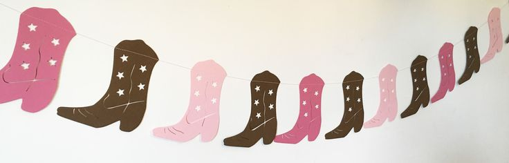 Cowgirl Boot Garland in Light Pink, Hot Pink, Brown for Birthday Parties, Baby Showers, Rodeo Party, Baby Nursery, Western Themed Party by thepapercove on Etsy