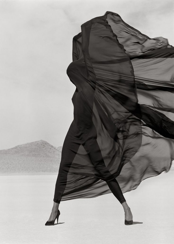 Model: Naomi Campbell | Photographer: Herb Ritts (1990) - Versace Veiled Dress