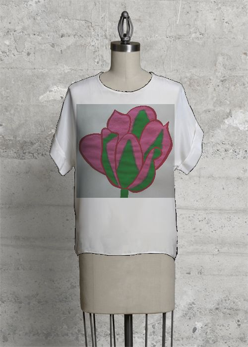 Boatneck Boyfriend Tee - Pink Flower by VIDA VIDA Manchester Great Sale Cheap Price Ebay Cheap Price Discount 2018 New Cheap Original aWzXCwv8N3