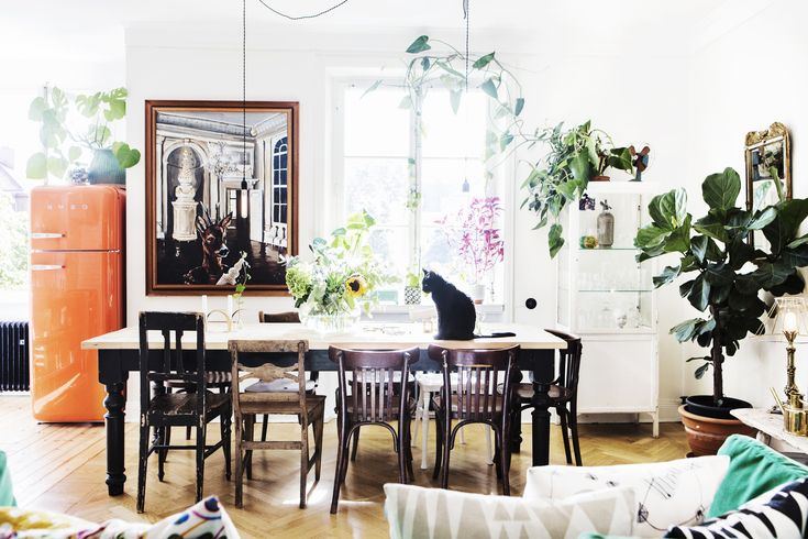 i adore this cheerful dining are and all the plant life