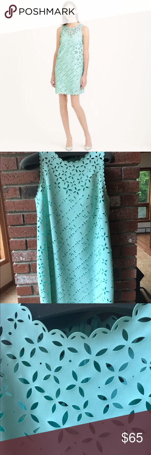 J.crew Laser Cut Floral Shift Dress 12 - mint NWOT J.crew (not the outlet, real jcrew) Laser cut floral shift dress women's size 12. Never been worn. Adorable for summer! Has the slip too. Fits true to size although a size 10 could wear it too. J. Crew Dresses Midi