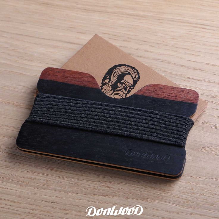 Wooden wallet / cart holder made of wood.