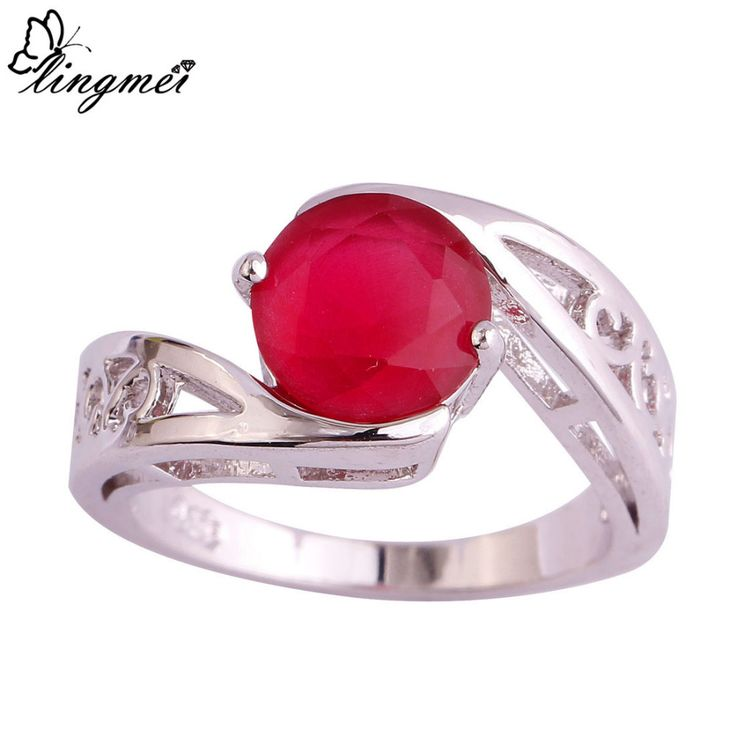 lingmei Wholesale Beautiful Round Cut AAA Silver Ring Size 6 7 8 9 10 11 Fashion Women Wedding Jewelry Free Shipping 1022R31