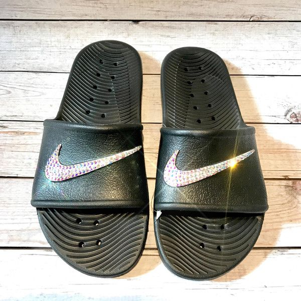Bling Nike Slides Crystal Nikes Flip Flops Sparkly Sandals Bling Flip... ($65) ❤ liked on Polyvore featuring shoes, sandals, flip flops, flip flops & thongs, grey, women's shoes, crystal flip flops, summer flip flops, gray shoes and grey shoes