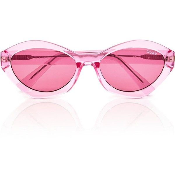 Quay Australia Quay Australia X Kylie Jenner As If! Cat Eye Sunglasses ($68) ❤ liked on Polyvore featuring accessories, eyewear, sunglasses, light pink, quay sunglasses, cat-eye glasses, geometric sunglasses, cat eye glasses and quay sunnies