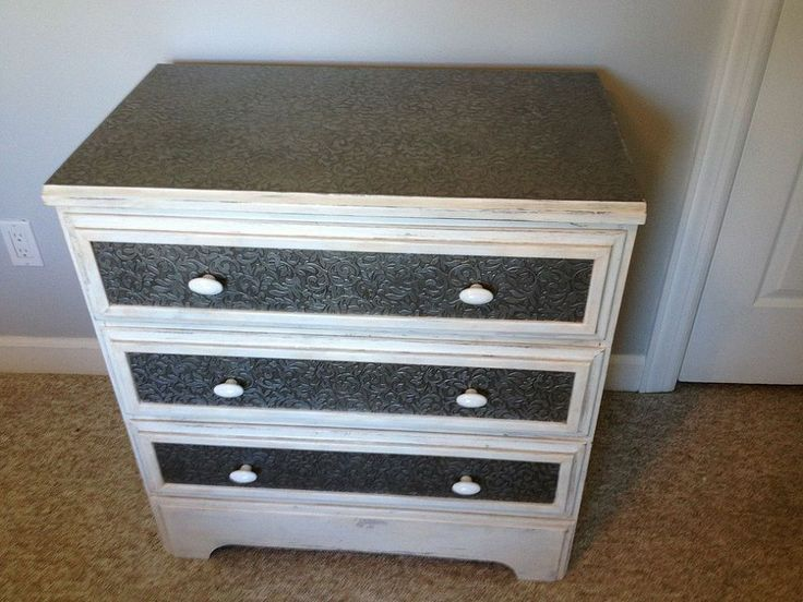 Redo of Flea Market Dresser (Old Tin Look) - great innovative idea and looks easy to do!