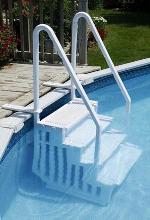 Great safety feature- in Pool Step with Handrails. Would probably save wild life too like squirrels from drowning.