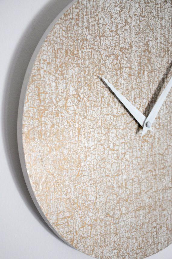 Wall clock white & gold / Wall clock / Natural wood /