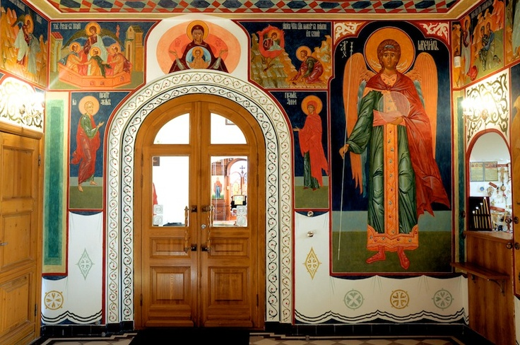 Maardu Estonia. Wall painting of St. Michael church 2009.