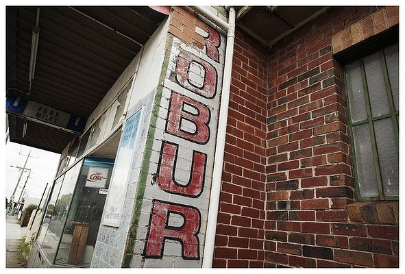 A Robur Tea sign painted onto the side of an abandoned milk bar on Reynard Street, Coburg.