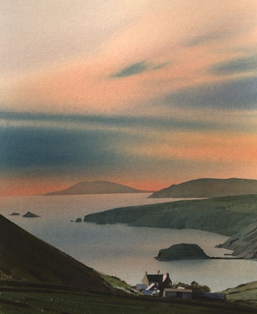 Enlli from Rhiw, an original watercolour painting by Rob Piercy