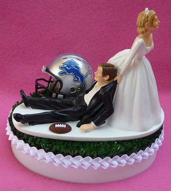Wedding Cake Topper Detroit Lions Football Themed Sports Turf Topper w/ Garter, Display Box on Etsy, $59.99