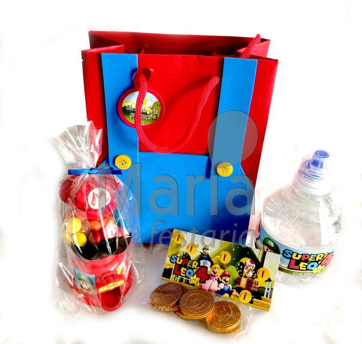 Lembrancinha Super Mario Bros. Sacolinha + Água + Moedas + Candy Machine