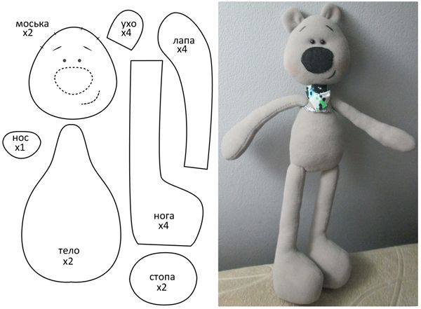 Black nosed bear softie + free pattern.  #SoftToy #diy
