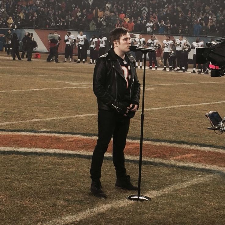 Patrick singing the national anthem. He looked so nervous but he was good.