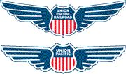 Union Pacific winged logos: Top one is from 1939 - 1960s; Bottom logo is from 2000
