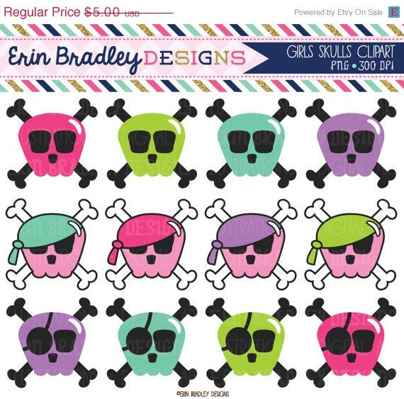 50% OFF Girls Skulls Clipart Set Pink Blue Green and Purple Pirate or Halloween Skull Clip Art Graphics INSTANT DOWNLOAD