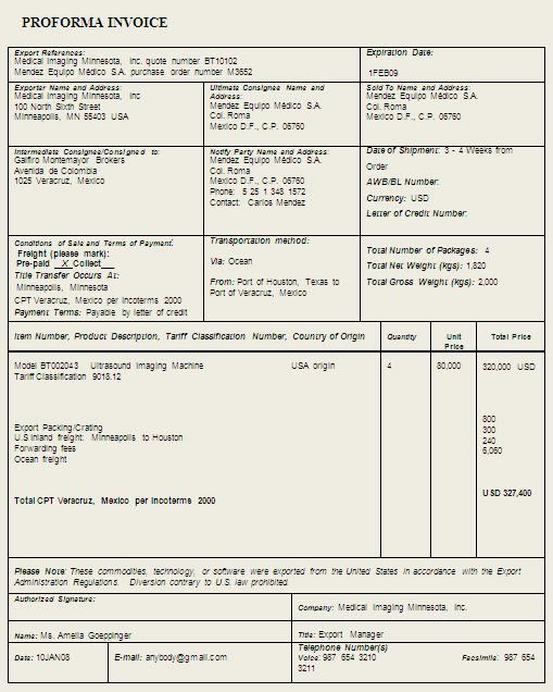 proforma invoice template sample format example