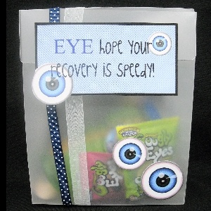 "This fun vellum box is filled with fun toys and ""eye"" things for kids.  A fun way to wish for a speedy recovery!"