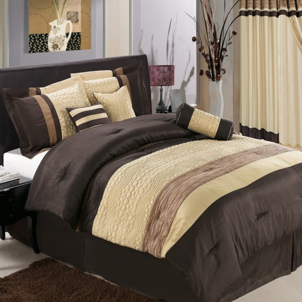 Luxury Bed In A Bag Bedding Comforter Set   Sonata Coffee Brown U0026 Sheets