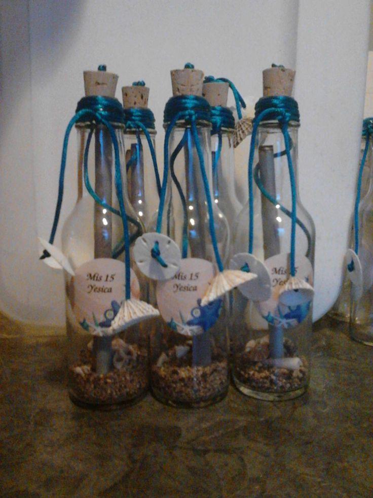 Botellas con mensaje quincea ero motivo mar pinterest - Decoracion de botellas ...