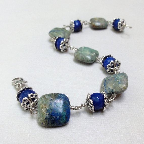 gemstone bracelet blue agate and azurite by jewelrybyjaime
