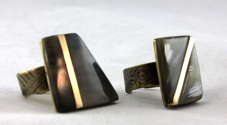 Brass Inlaid Rings with Cow Horn and etched ring band.