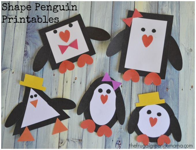 penguin printable craft learn shapes winter crafts - Printing Activities For Preschoolers