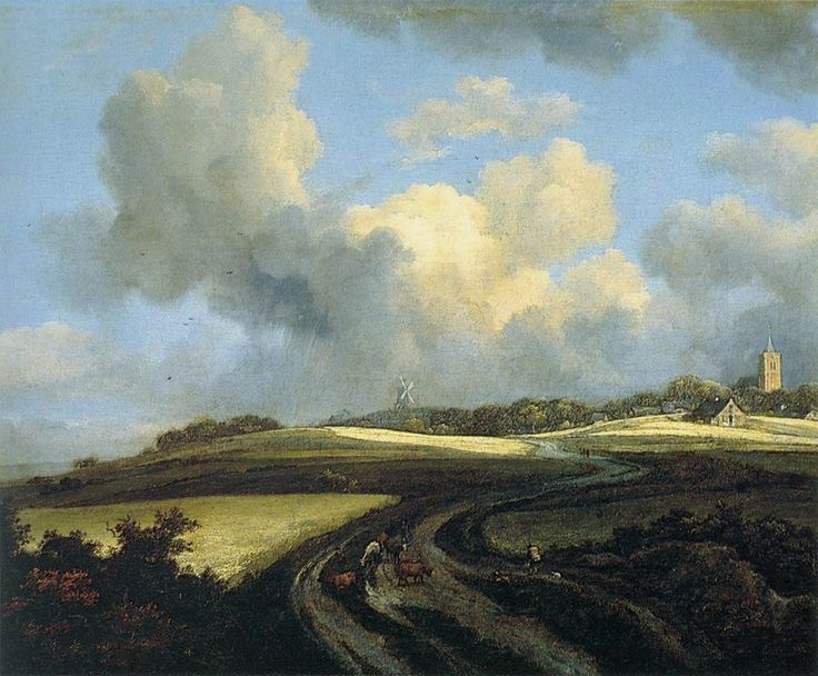 van ruisdael paintings | Jacob Isaakszoon van Ruisdael >> Road through Corn Fields near the ...