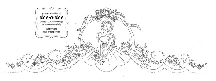 """Vintage pillowcase Embroidery Transfers   note: while the image looks small it's actually 15"""" x 5"""" when you ..."""