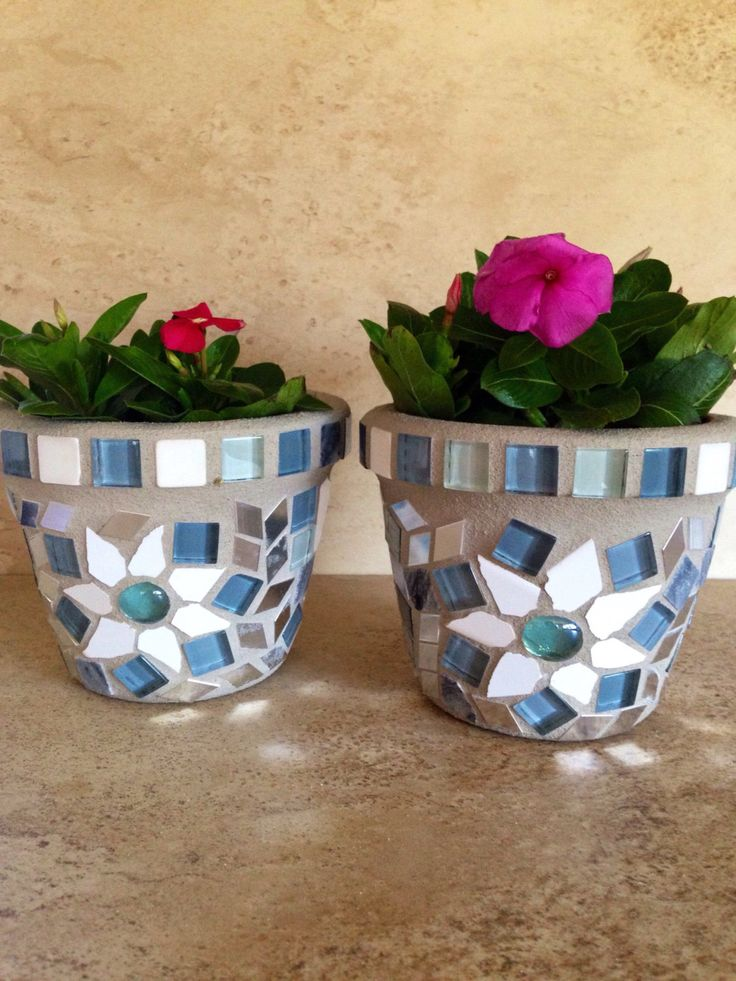 A personal favorite from my Etsy shop https://www.etsy.com/listing/480614405/mosaic-flower-pot-set-small-rustic-glass
